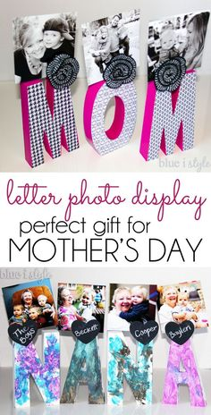 : {Gifts with style} Letter Photo Display for Mother. Create an organized and cute, happy home!: {Gifts with style} Letter Photo Display for Mother's Day,Crea. Kids Gifts, Craft Gifts, Gifts For Mom, Mother And Father, Mother Day Gifts, Mothers Day Crafts For Kids, Grandparent Gifts, Mother's Day Diy, Mom Day