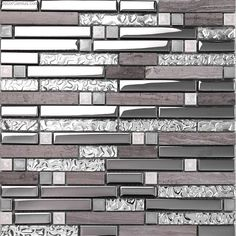 Look at this stunning Galvanized Metal tile, it blends with high temperature glass chips. It's healthy and safe for you and your house. Mosaic Bathroom, Mirror Mosaic, Mirror Tiles, Bathroom Floor Tiles, Mosaic Wall, Mosaic Glass, Mosaic Tiles, Mirror Glass, Floor Mirrors