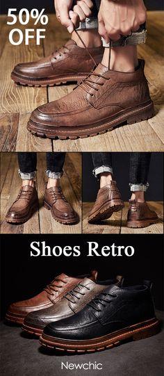 a31dfe7425c  50%off Men Retro Color Microfiber Leather Slip Resistant Casual Shoes   mensfashion