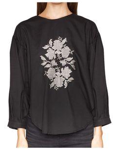 Black Balloon Sleeve Blouse -$44