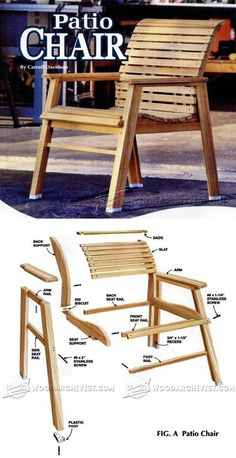 Patio Chair Plans - Outdoor Furniture Plans & Projects on Home Inteior Ideas 1516 Outdoor Furniture Plans, Woodworking Furniture Plans, Woodworking Projects That Sell, Pallet Furniture, Kids Woodworking, Woodworking Workbench, Patio Chairs, Adirondack Chairs, Outdoor Chairs