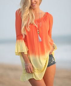 Do you love orange like I do?   You can not go wrong with this fun, cute and sassy top.  I found this at one of the Best Online Discount Clothing Store and for crazy affordable!  This won't last long!  I've got mine!  This Yellow & Orange Dip-Dye Ruffle-Sleeve Tunic is perfect! #zulilyfinds  #orange #cool