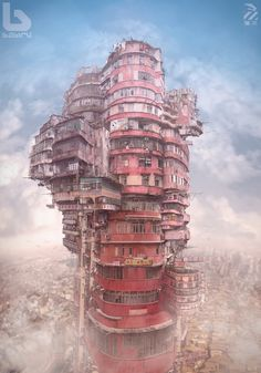 The Original, Real-Life Dystopian Cityscape of Kowloon Walled City, and the Artwork It Inspired - Kowloon Walled City, Fantasy Kunst, Dark Fantasy Art, Fantasy Artwork, Environment Concept, Environment Design, Art Environnemental, Environmental Art, Sci Fi Art