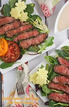 Grilled Flatiron Steak Salad with Yogurt Dressing at This Mama Cooks! On a Diet