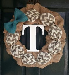 Burlap Wreath with Gray Chevron Burlap and Teal Burlap Bow- Front Door Wreath- Monogram Wreath-Wedding Decoration- Wedding Gift- on Etsy, $54.95