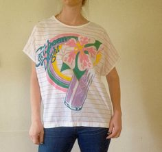 Vintage CARIBBEAN DELIGHT Tropical All Over Print OVERSIZED T-Shirt