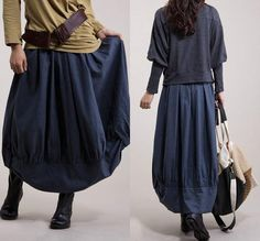 Blue cotton Flax Blue  lotus package skirt / irregular by dreamyil, $88.00