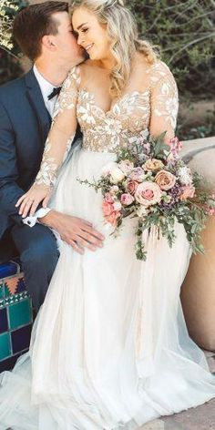 Hot Sell Sheer Neck Scoop Plus Size Wedding Dresses with Lace Bridal Gown – Ultimate Weddings Plus Size Wedding Dresses With Sleeves, Plus Wedding Dresses, Western Wedding Dresses, Princess Wedding Dresses, Bridal Dresses, Wedding Gowns, Wedding Bride, Lace Wedding, Bridesmaid Dresses