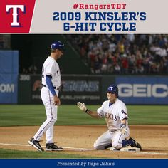 to Ian Kinsler's cycle in Rangers Baseball, Sports Baseball, Texas Rangers, Baseball Cards, Ian Kinsler, San Antonio Spurs, Dallas Cowboys, Athletics, How To Memorize Things