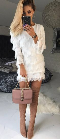 how to wear a white dress : bag nude over knee boots