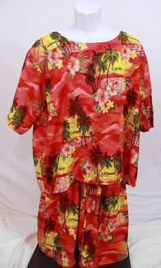 Womens Cabana Set Swim Suit Cover Up Beach Wear Caribbean Palm Trees Hisbiscus # #CoverUp