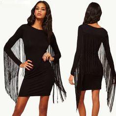 Fashion Tassels Round Neck Long Sleeve Black Dress