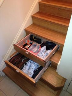 The space under the stairs is a great hiding place for shoes and some other stuff that you use only from time to time. To make sure that the space doesn\'t end up with piles and piles of clutter, you might want to heed this tip--secret drawers under the st