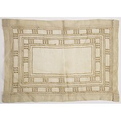 "Gustav Stickley (1858-1942) - Place Mat. Woven Linen. Circa 1905. 10-1/2"" x 15""."
