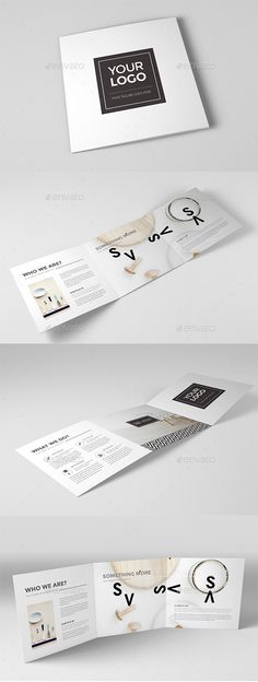 Minimal & Clean Square Trifold — InDesign INDD #proposal #template • Available here → https://graphicriver.net/item/minimal-clean-square-trifold/12724400?ref=pxcr