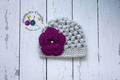 Crochet Newborn baby girl puff stitch hat by Stephyscrochet, $20.00