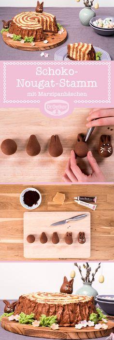 Schoko-Nougatstamm mit Marzipanhäschen: Da hat sich das Häschen aber ein süßes Versteck gesucht - einen herrlich nussigen Stamm aus Schokolade