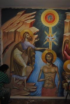 Theophany (Baptism of Jesus Christ) Whispers of an Immortalist: Ministry of Christ 1 Byzantine Icons, Byzantine Art, Baptism Of Christ, Jesus Christ, Roman Church, John The Baptist, Orthodox Icons, Religious Art, Christianity