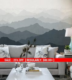 Summer Sale - Mountain Mural Wallpaper, Grayish Navy, Ombre Mountain Extra Large Wall Art, Peel and Stick Wall Poster Wall Art Wallpaper, Mural Wall Art, Wallpaper Samples, Fabric Wallpaper, Peel And Stick Wallpaper, Artwork Wall, Mountain Mural, Mountain Wallpaper, Oversized Wall Art