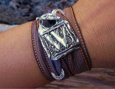 Custom Jewelry, Custom Silver Bracelet, Fine Silver Monogram Jewelry, Winter Fashion Jewelry, Any Color Silk Ribbon, Any Letter. $49.95, via Etsy.
