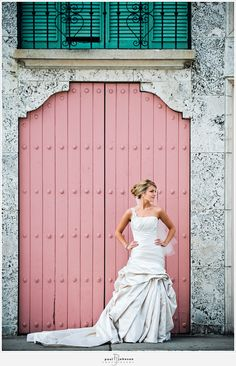pretty pink door. a great color palette with the gray and teal.