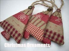 Fabric Christmas ornaments Country colors Set of 3 Sand Burgundy classic SALE in my SHOP. via Etsy. Quilted Christmas Ornaments, Fabric Ornaments, Prim Christmas, Christmas Sewing, Christmas Fabric, Homemade Christmas, Christmas Quilting, Burlap Ornaments, Ornaments Ideas