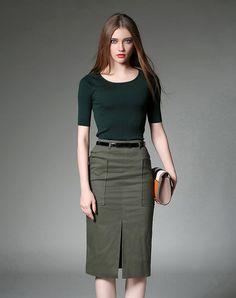 #AdoreWe #VIPme Co-Ords - YEARNSANE Green Short Sleeve Sweater With Bodycon Midi Skirt - AdoreWe.com