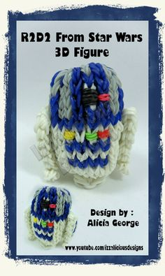 Rainbow Loom R2-D2 (R2D2) 3D Robot Action Figure/Charm From Star Wars