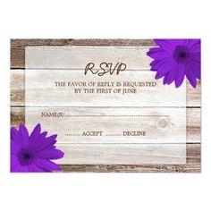 Purple RSVP Wedding Cards Purple Daisy Barn Wood Wedding RSVP Response Card