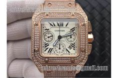 Cartier Santos 100 Chrono Full Rose Gold Wrapped Full Diamond A7753