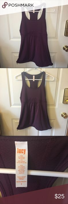 Lucy burgundy workout tank Gorgeous burgundy tank. Fitted in bust loose fit in waist with drawstring at bottom. Smoke free like new size small. Lucy Tops Tank Tops