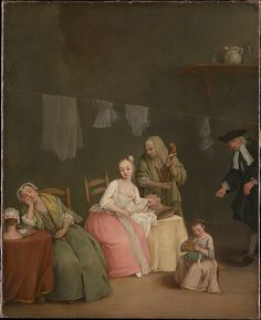 The Letter, 1746, by Pietro Longhi (Pietro Falca) (Italian, Venice 1701–1785 Venice) An older man with a coin in his hand negotiates with a procuress for the favors of a pretty young woman, who reads with evident pleasure the...