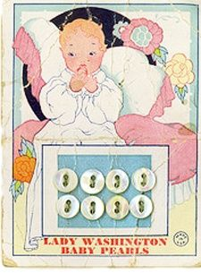 Button card for baby's clothes Lady Washington Baby Pearls