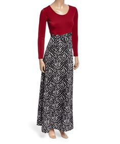 Red & Black Herringbone Scoop Neck Maxi Dress #zulily #zulilyfinds