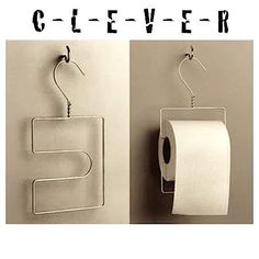 Toilet paper holder from wire hanger. Clever!