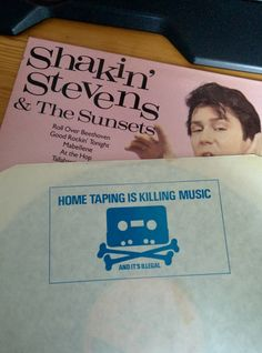 """""""Home taping is killing music"""" - backside of a 1972 vinyl sleeve"""