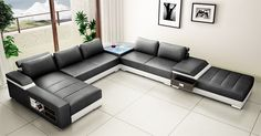 Saturn Leather Sectional Sofa Set - Black / White - LSF