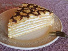 Medovik Pasta Tarifi - Malzemeler : 3 yumurta, 100 gr tereyağ, 4 su bardağı un, 2 yemek kaşığı şeker, 3 yemek kaşığı bal, 1,5 çay kaşığı karbonat. 500 gr krema, 1 su bardağı şeker, 1 yemek kaşığı bal. 1 su bardağı ceviz, 50 gr çikolata, 2 yemek kaşığı süt.