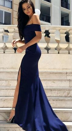 gorgeous navy blue mermaid long prom dress with slit, 2018 off shoulder navy blue long prom dress, graduation dress, formal evening dress