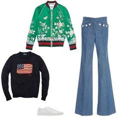 Gucci embroidered duchesse bomber, $3,500, gucci.com; Derek Lam denim flared sailor pants, $795, modaoperandi.com; Woman by Common Projects white originals Achilles sneakers, $405, ssense.com; Polo Ralph Lauren kids navy cotton-linen American flag sweater, $65, for information: bluefly.com