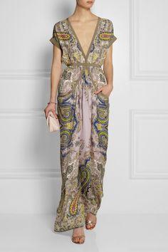 Etro|Robe longue du soir en georgette de soie à imprimé cachemire Kingdom|NET-A-PORTER.COM