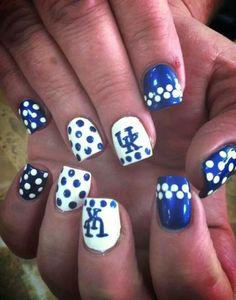 Wildcats Nail It! University of Kentucky Nail Art Crazy Nail Art, Crazy Nails, Cute Nail Art, Fancy Nails, Love Nails, Pretty Nails, Basketball Nails, Football Nails, Uk Basketball