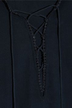 Figue - Poet Ruffle-trimmed Brushed-silk Blouse - Navy - x small
