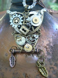 steampunk owl necklace gears watch parts lock key by gildedingypsy
