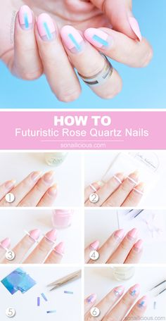 Pink negative space nails how to. #rosequartz #nails #pantone2016