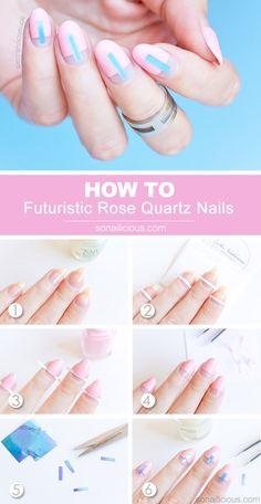 Futuristic Rose Quartz Nails [TUTORIAL]