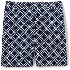 Lands' End Women's Petite Mid Rise 7 Chino Shorts (48 CAD) ❤ liked on Polyvore featuring shorts, blue, long shorts, stretch shorts, lands end shorts, petite shorts and chino shorts