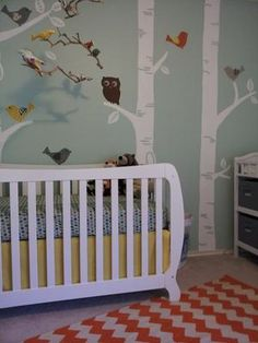DIY birch tree nursery wall mural hand painted by mom: My ideas for the baby's nursery began with paint color swatches; I had a feel, an impression I wanted to convey in the room's decor and color would play