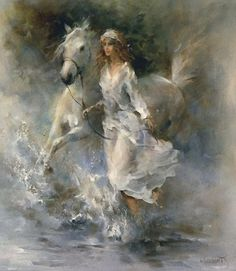 Willem Haenraets - #horse and girl #painting