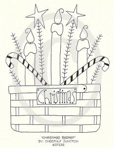 Paper Embroidery Patterns Christmas Basket Embroidery ePattern - x primitive embroidery - stitchery epattern. Epattern includes DMC color list and simple instructions. Primitive Embroidery, Primitive Stitchery, Folk Embroidery, Paper Embroidery, Learn Embroidery, Primitive Crafts, Vintage Embroidery, Cross Stitch Embroidery, Primitive Patterns